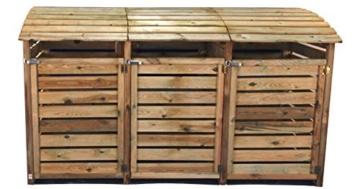 3 Tonnen Mülltonnenbox aus Holz, Mülltonnenverkleidung für 3 Tonnen bis 240 Liter
