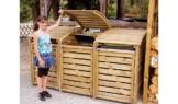 Mülltonnenbox aus Holz, Mülltonnenverkleidung für 3 Tonnen bis 240 Liter