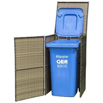 Polyrattan Geflecht mocca Mülltonnenbox für Tonnen bis 120 Liter