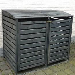 Mülltonnenbox VARIO II Müllbox Doppelbox für 2 Mülltonnen Kiefer ANTHRAZIT